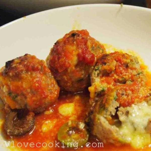 茄汁焗芝士肉丸