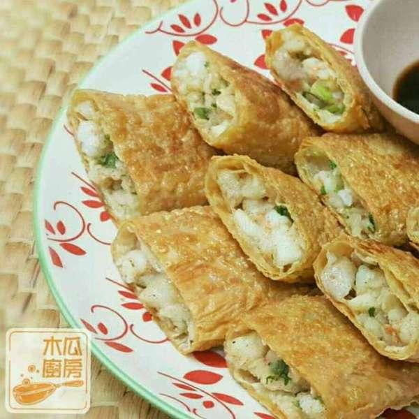 香煎鮮蝦腐皮卷