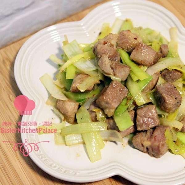 白麵豉豚肉炒大蔥