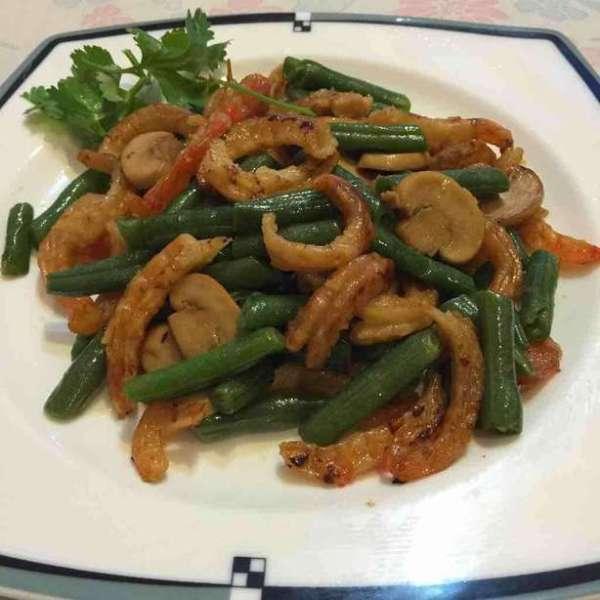 香港小炒—美極炒蝦乾豆角蘑菇