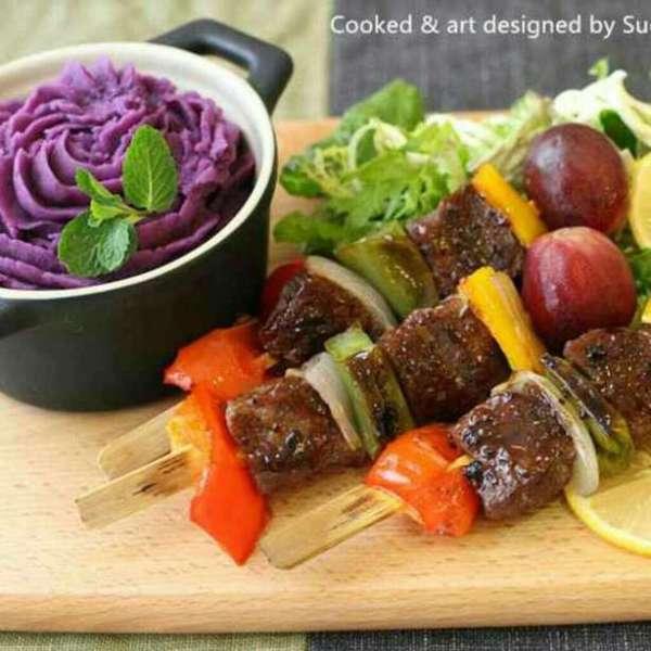 串燒牛柳 奶香紫薯