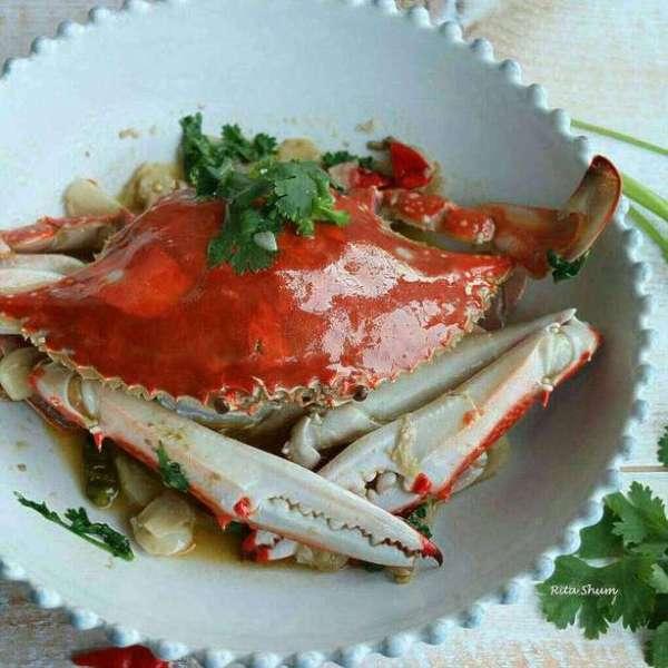 無水煮蒜油梭子蟹