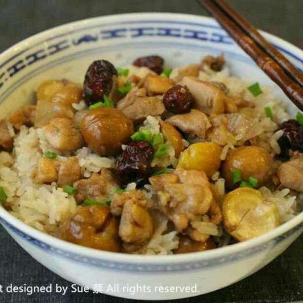 一人炊事 - 栗子紅棗雞粒炆糯米飯