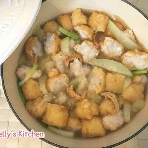 節瓜蝦干粉絲墨魚滑釀豆卜煲