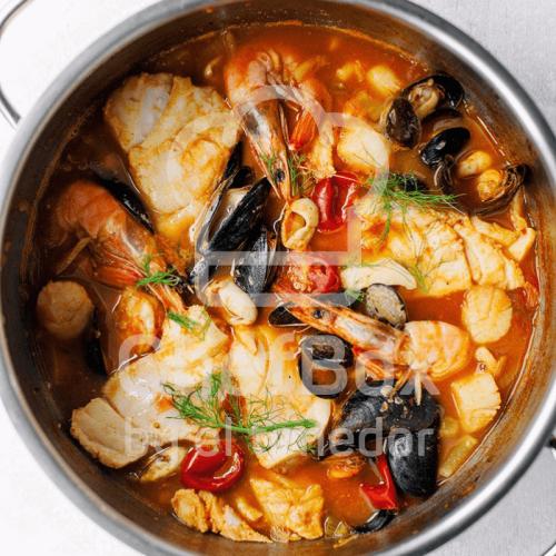 Bouillabaisse french fish soup.
