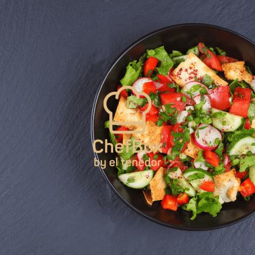 Fried bread, tomato, radish Lebanese salad.