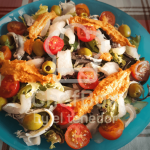 cod, romesco,escarole salad.