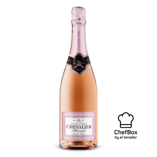Bottle of sparkling french wine rose.