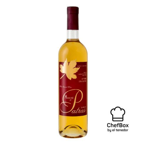 Bottle of greek dessert wine.