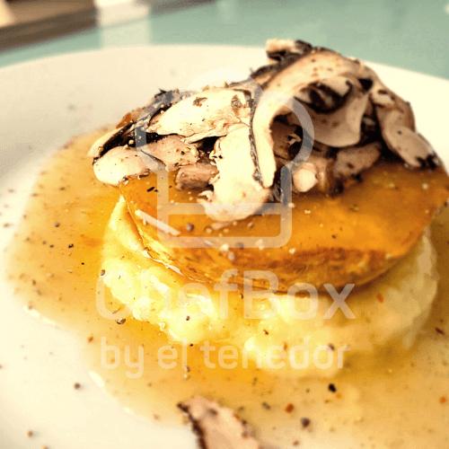 Celeriac, mushroom demi-glace, mushroom escabeche
