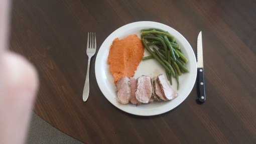 Roasted Pork loin with green beans and mashed sweet potatoes