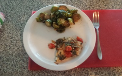 Mahi mahi!!!  Oh yeah, and Brussels Sprouts :)