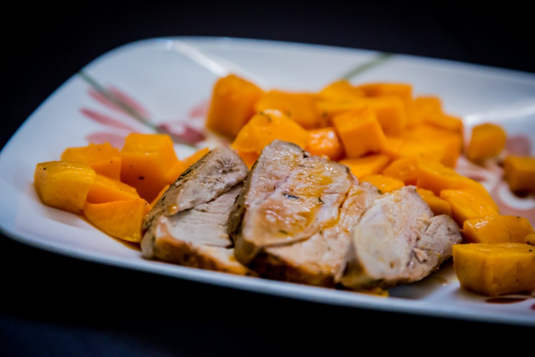 Spice-Rubbed Pork Loin with Garlic-Roasted Butternut Squash