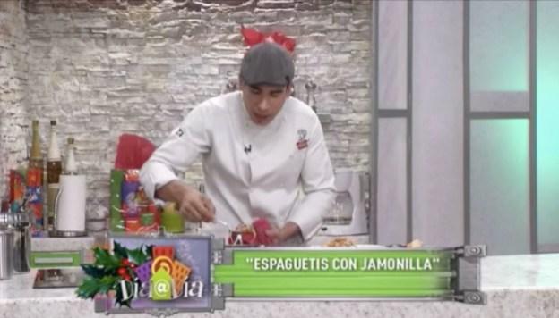 Espaguetis con jamonilla