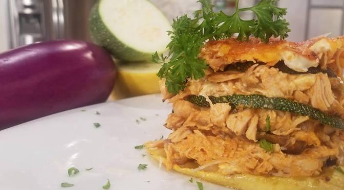 Lasaña de vegetales y pollo