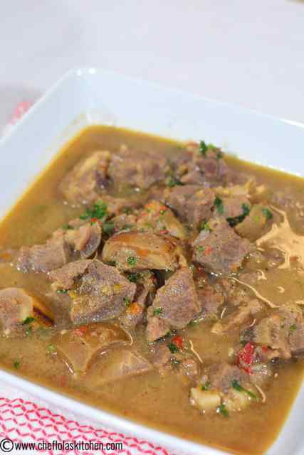 Close up picture of Nigerian goat meat pepper soup