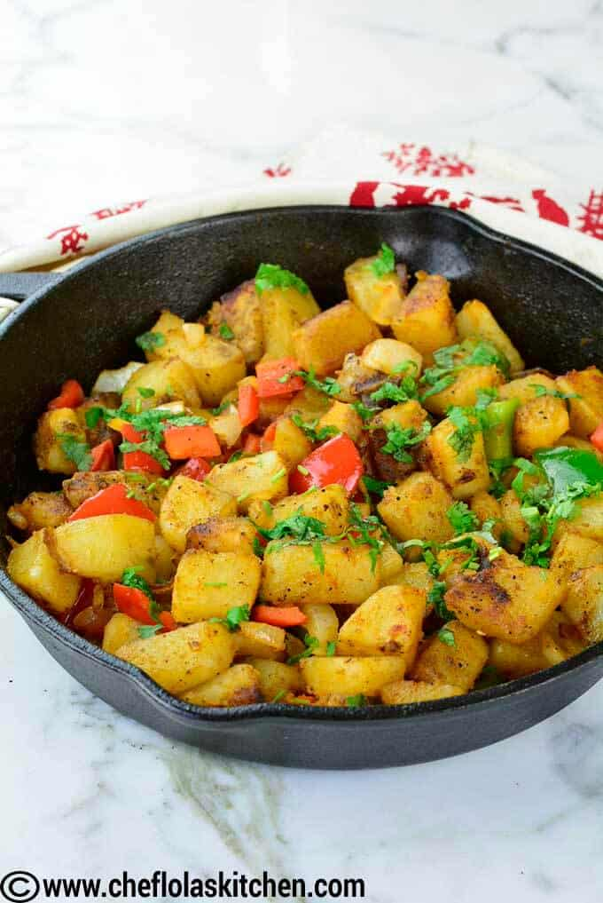 side view of skillet potatoes