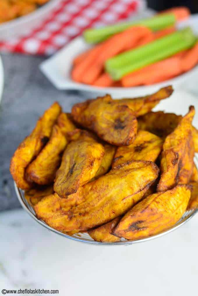 Close up image of sweet fried plantains