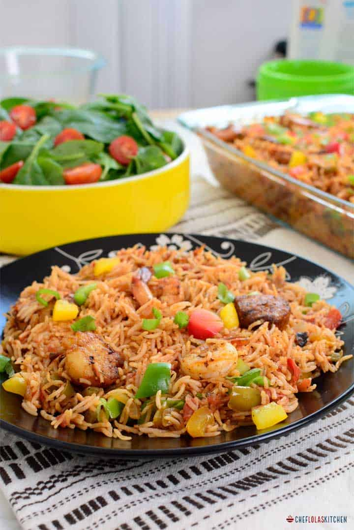 Seafood Jambalaya. Made with Shrimps, scallops, and vegetables.