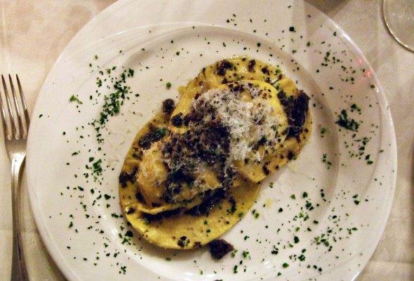 Mushroom ravioli in Siena, Italy.