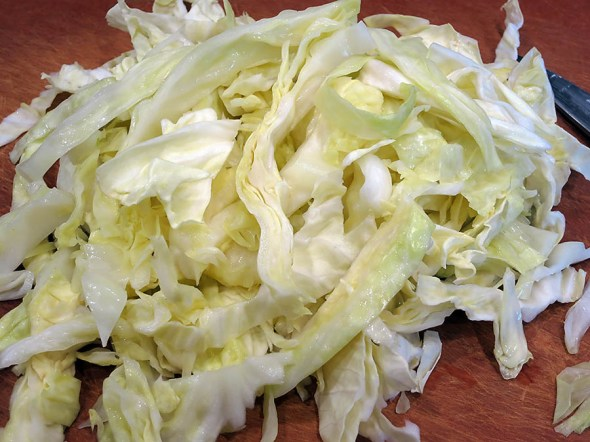 my par-boiled cabbage, sliced