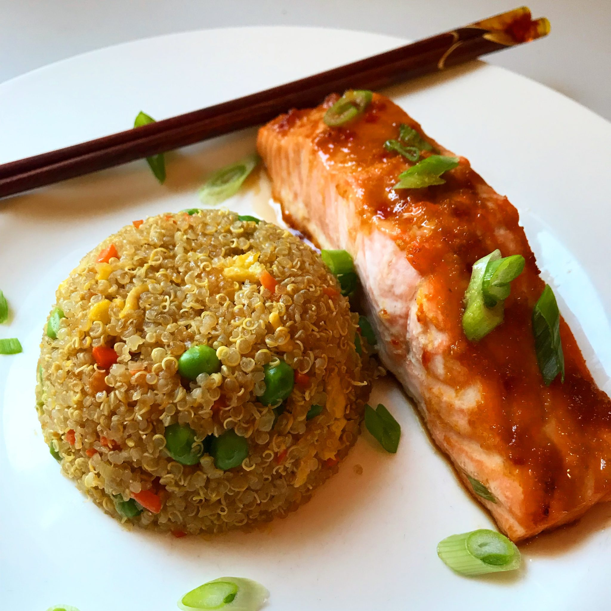 "Asian Glazed Salmon & Quinoa Fried ""Rice"""