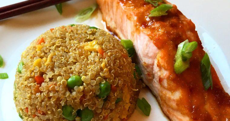 "Asian Glazed Salmon & Quinoa Fried ""Rice"""
