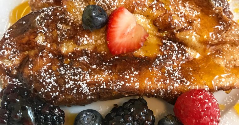 Challah French Toast with Passionfruit Caramel