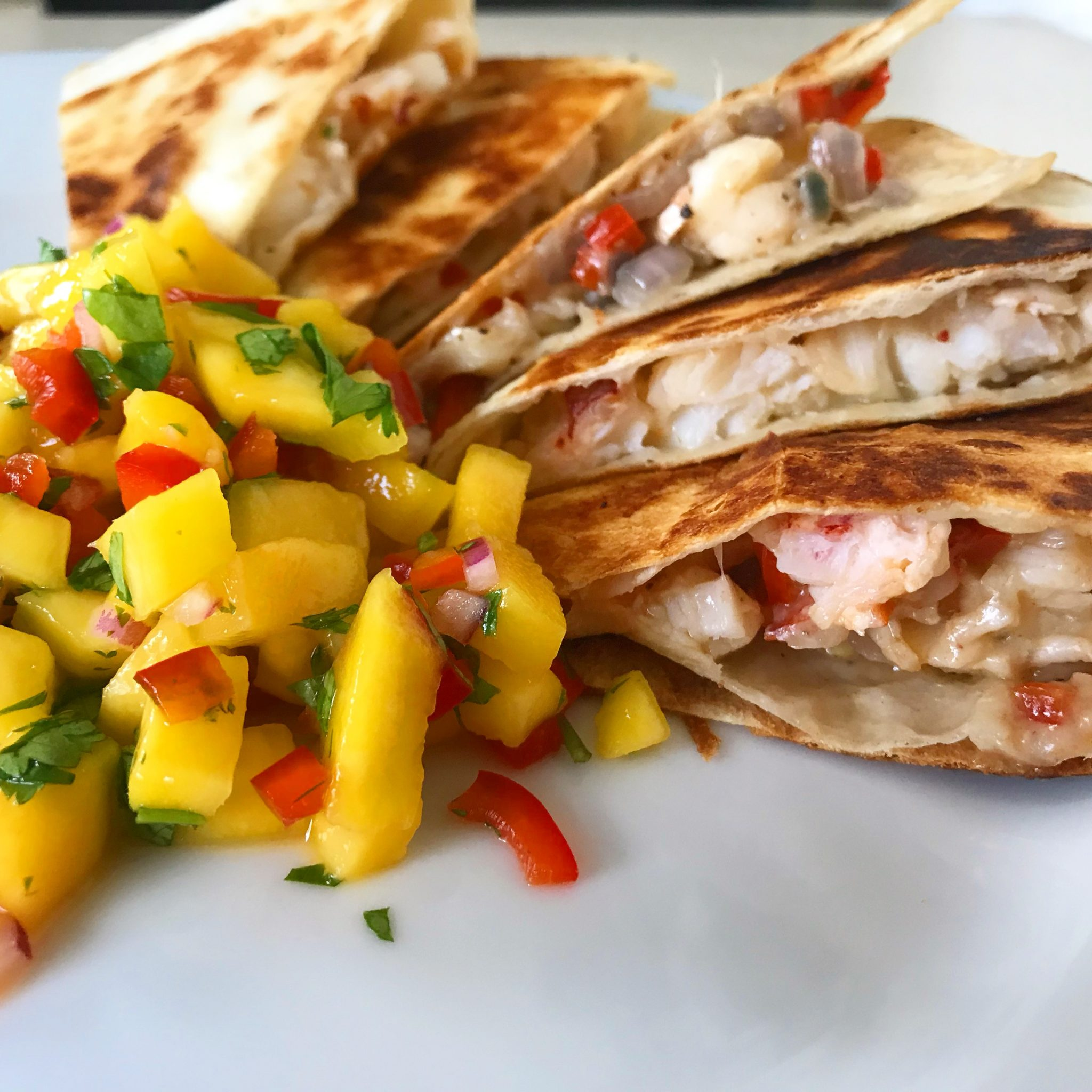 Lobster Quesadilla with Mango Salsa