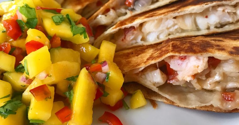 Lobster Quesadilla with Mango Salsa