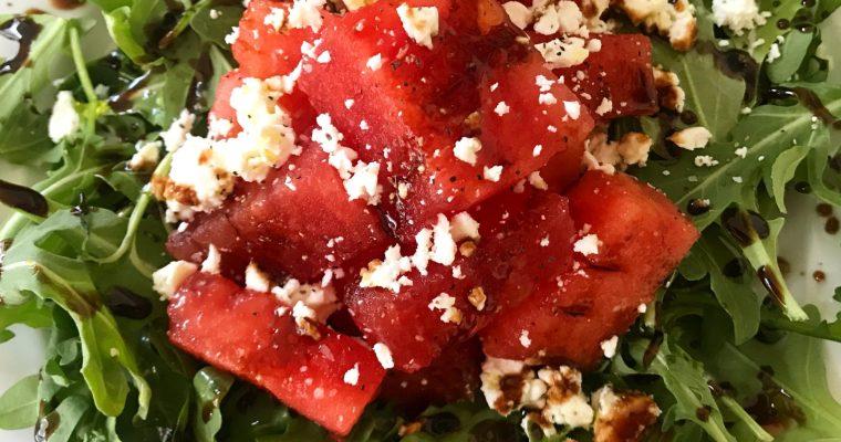 Arugula with Watermelon, Feta, and Pomegranate Molasses