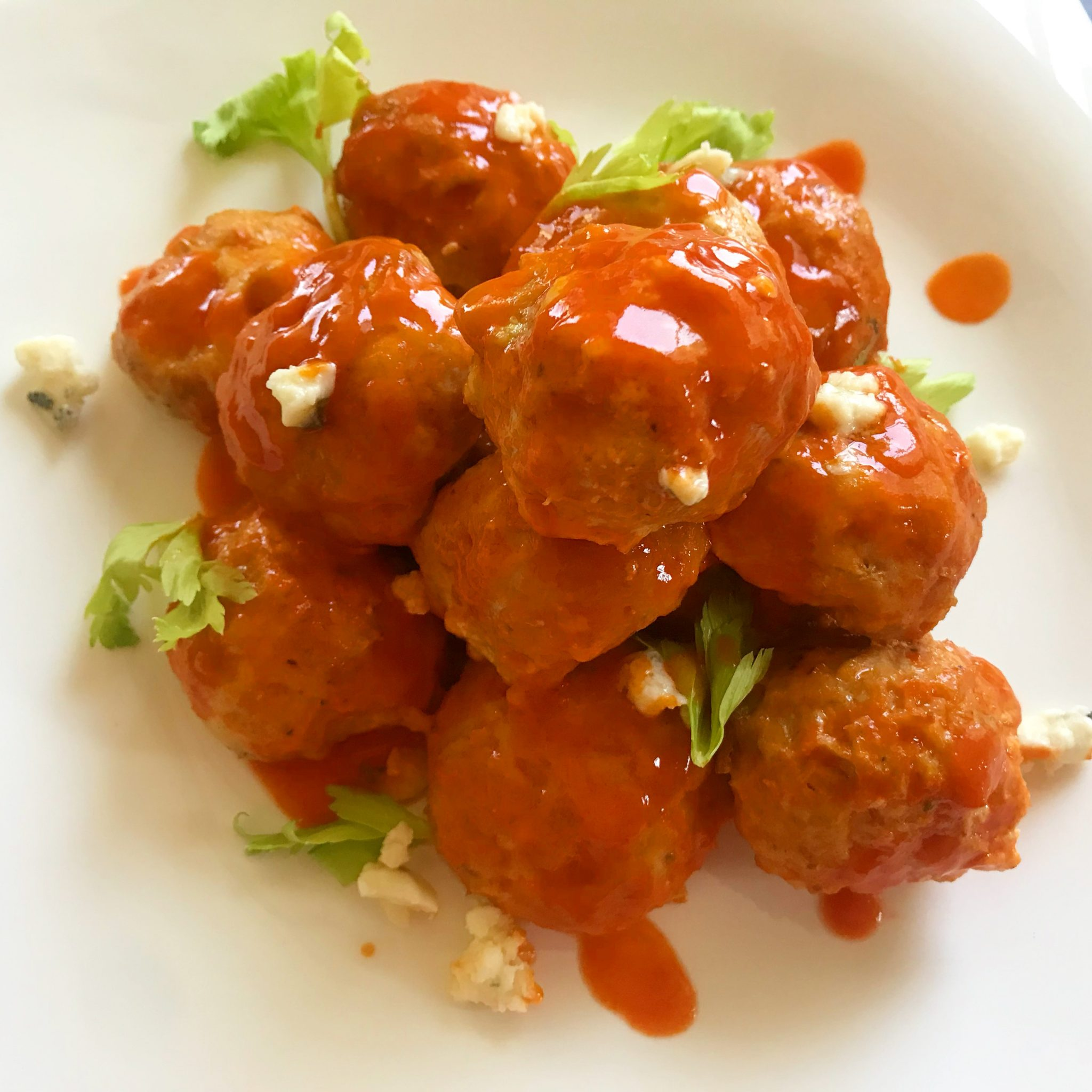 Buffalo Chicken Meatballs with Blue Cheese Mousse