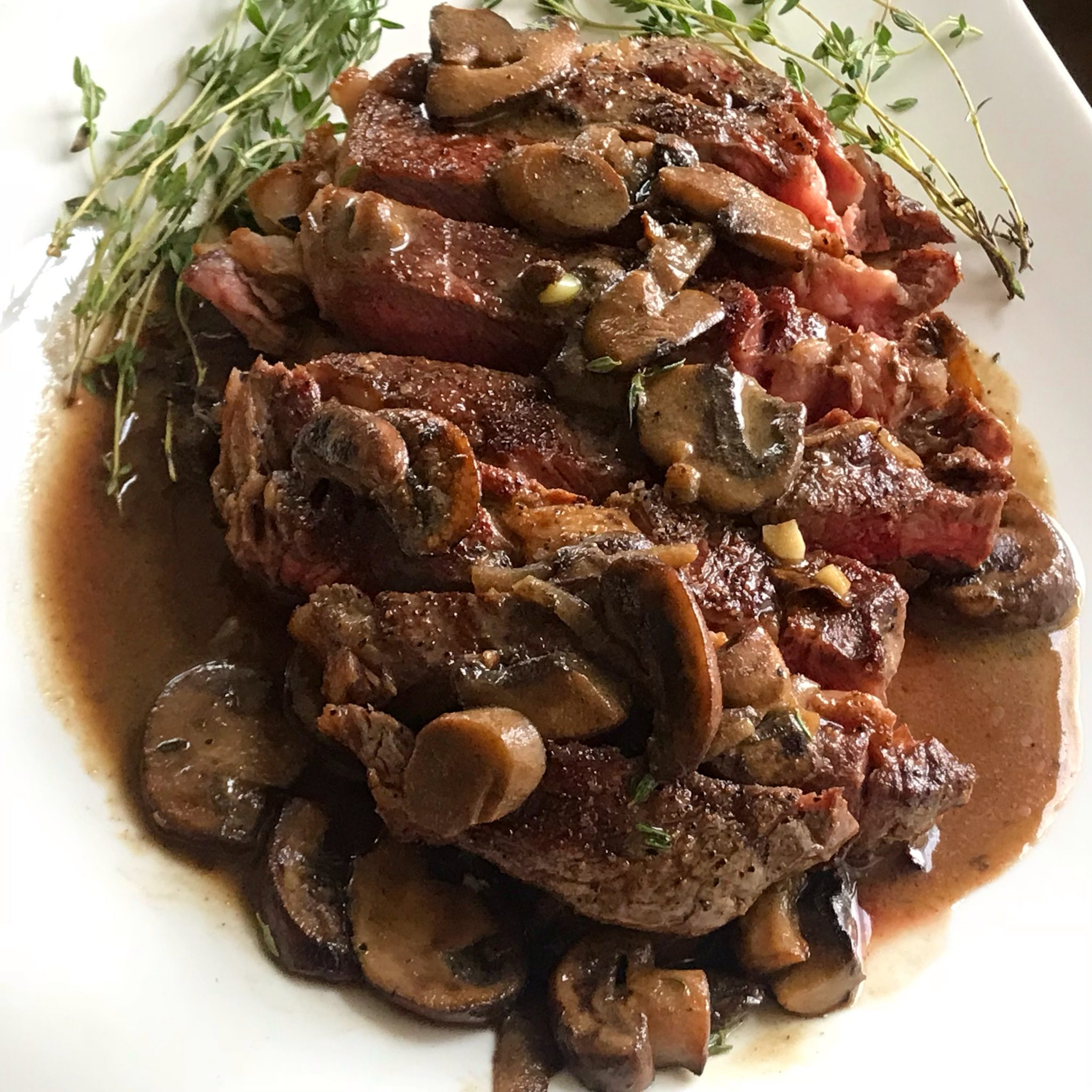 Steak with Mushroom Dijon Sauce