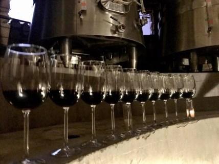 Wine line up at Lomita Estates