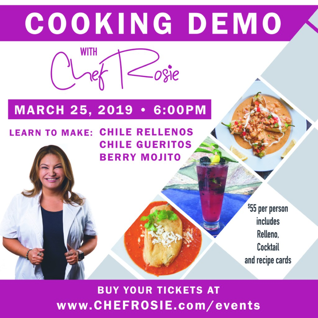 Chef Rosie Cooking Demo, learn to make, chiles rellenos, chiles gueritos, berry mojito