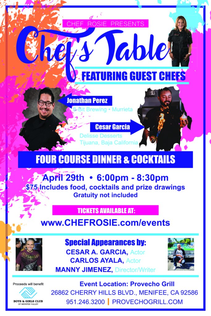 Chef Rosie, Baja Chef's Table Event, Provecho Grill, Menifee California, Latina Chef, Latino Chefs, Mexican Chefs