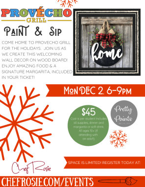 holiday paint and sip, chef rosie, provecho grill,