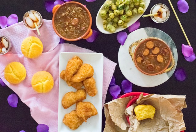 table spread of african american soul food