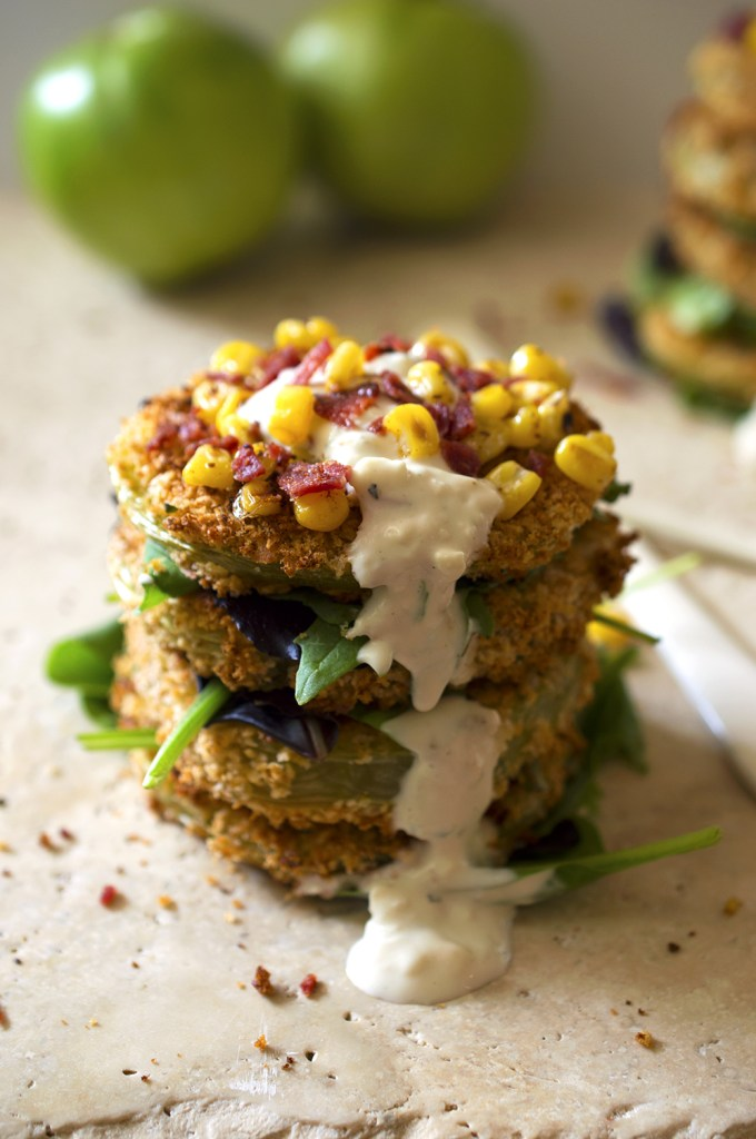green tomatoes with corn and bacon