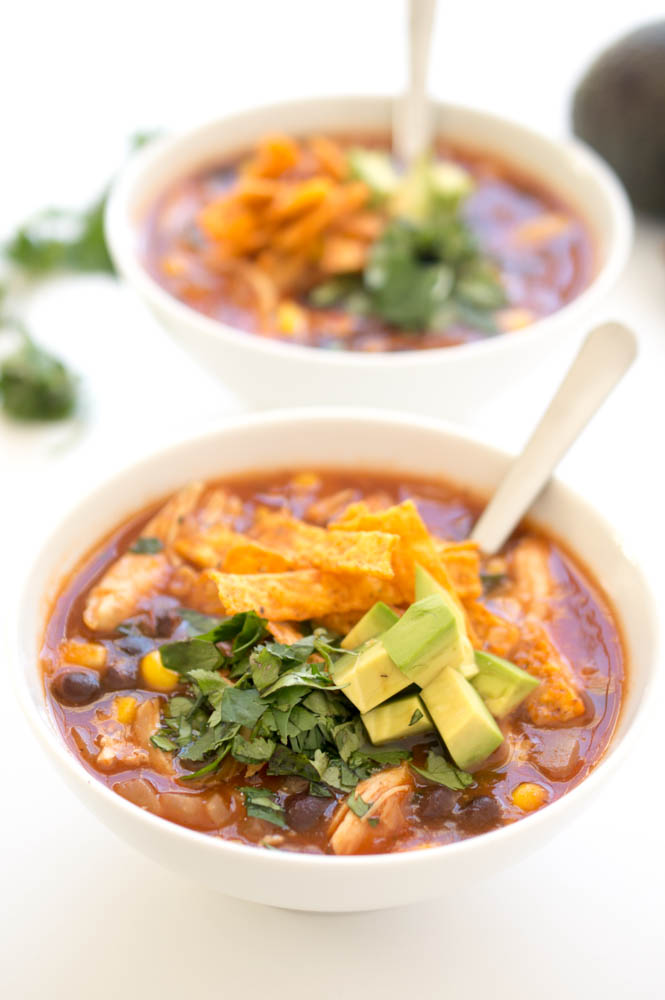 Easy 20 Minute Chicken Tortilla Soup With Black Beans | chefsavvy.com #recipe #soup #beans #chicken #Mexican #tortilla
