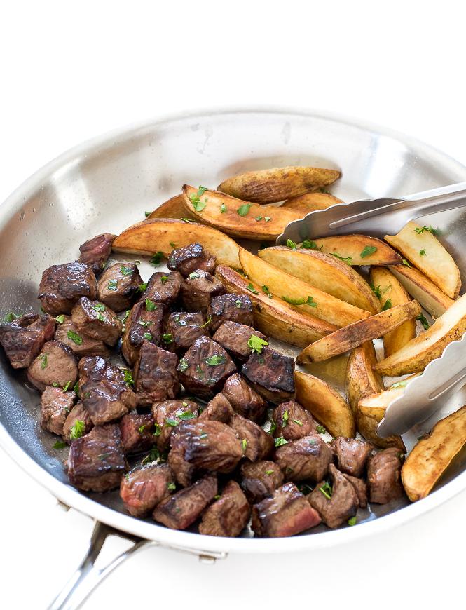 Garlic Butter Steak Bites and Potatoes | chefsavvy.com