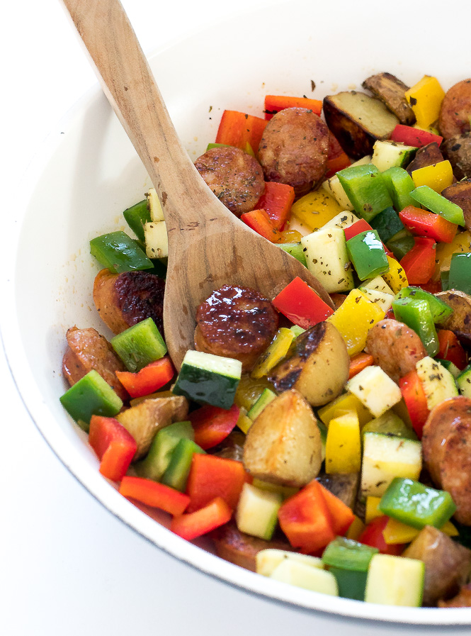 One Pan Sausage and Vegetable Skillet | chefsavvy.com