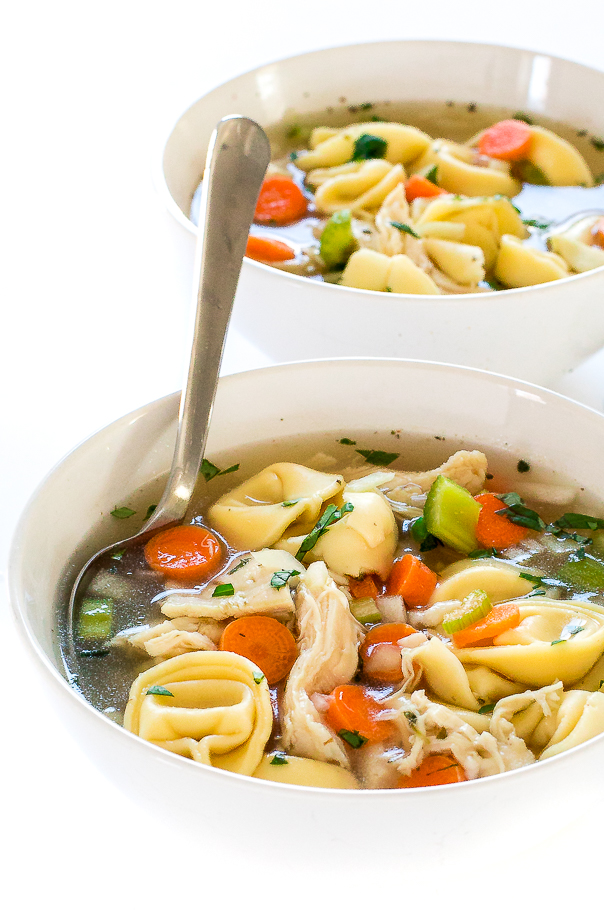 Slow Cooker Chicken Tortellini Soup | chefsavvy.com