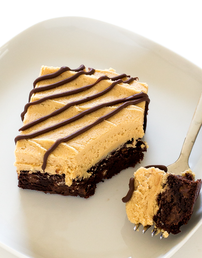 Chocolate Peanut butter Brownie on a plate