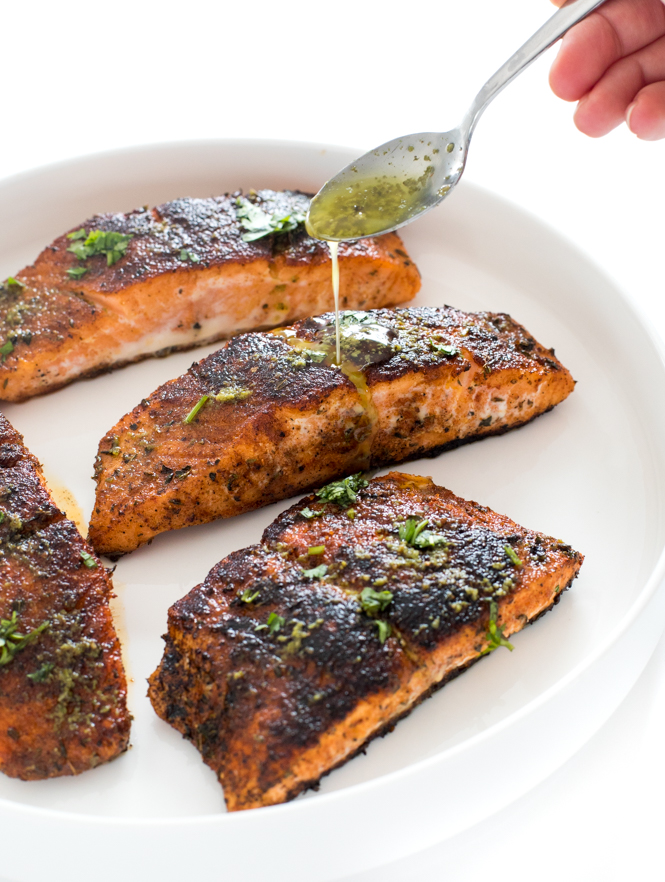 Topping salmon with lime butter sauce | chefsavvy.com