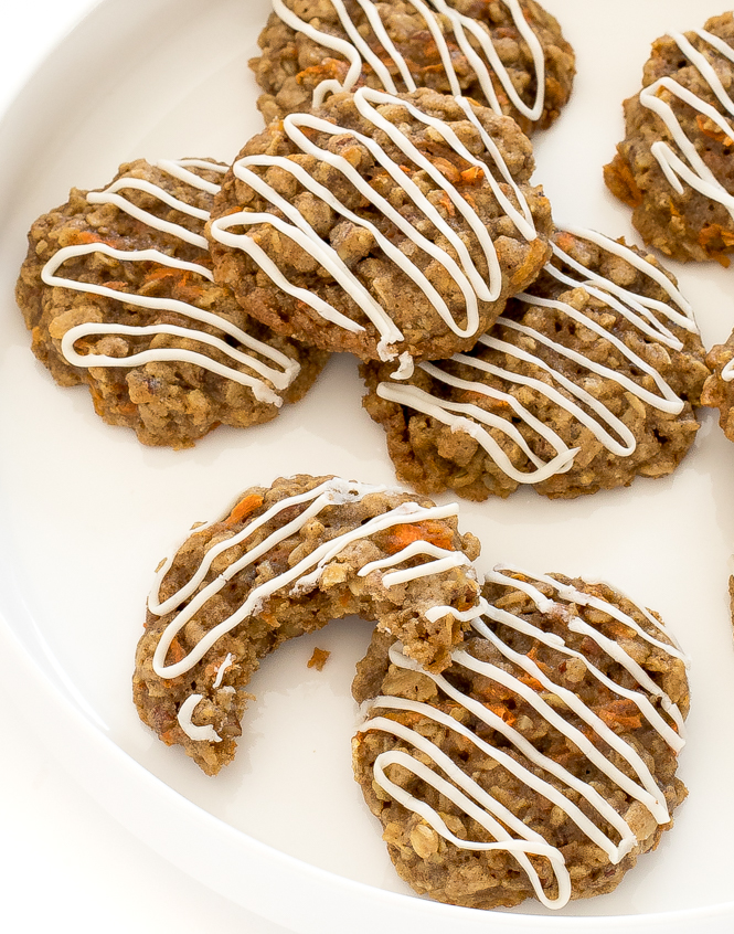 carrot cake cookies recipe with cream cheese frosting drizzle