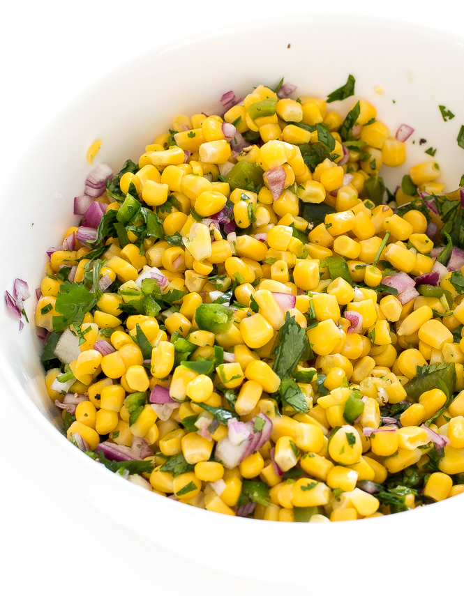 Corn Salsa Recipe mixed together in bowl