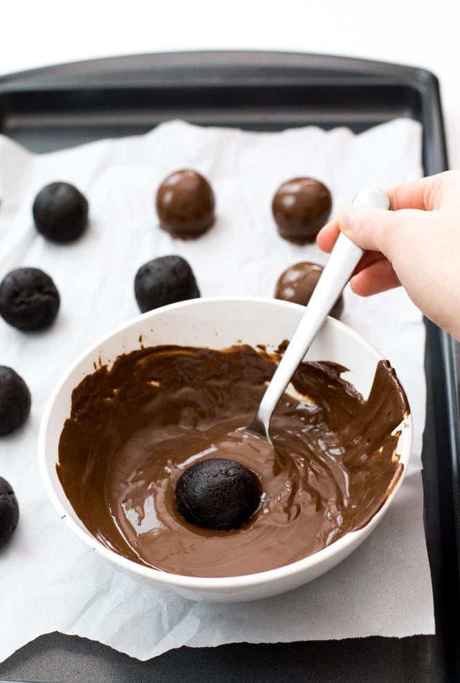 Truffles dipped in homemade chocolate ganache | chefsavvy.com