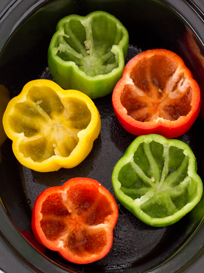 Bell peppers in slow cooker | chefsavvy.com