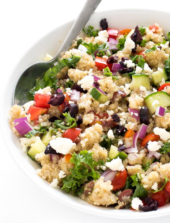 Greek Kale Quinoa Salad | chefsavvy.com